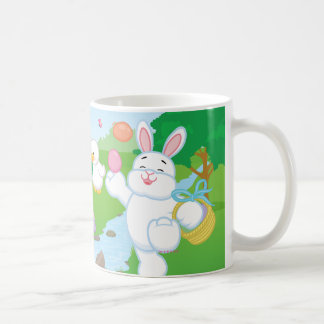 Caza del huevo de la celebración de la primavera taza básica blanca