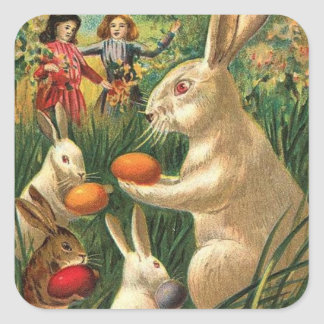 Caza del huevo de Pascua Pegatina Cuadrada