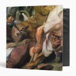 Caza del león, detalle de dos hombres y un león, 1