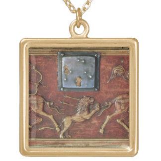 Caza del león, placa de un ataúd bizantino, 11mo c colgante cuadrado