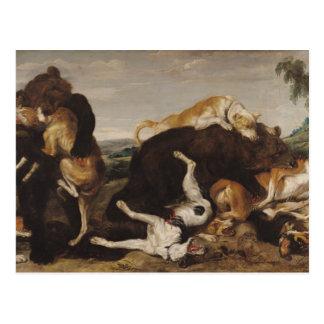 Caza del oso o, batalla entre los perros y osos postal