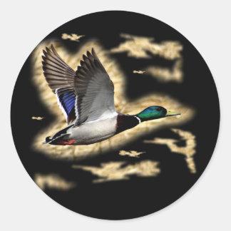 Caza del pato del pato silvestre pegatina redonda