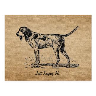 Caza del perro de caza del vintage de la arpillera postal