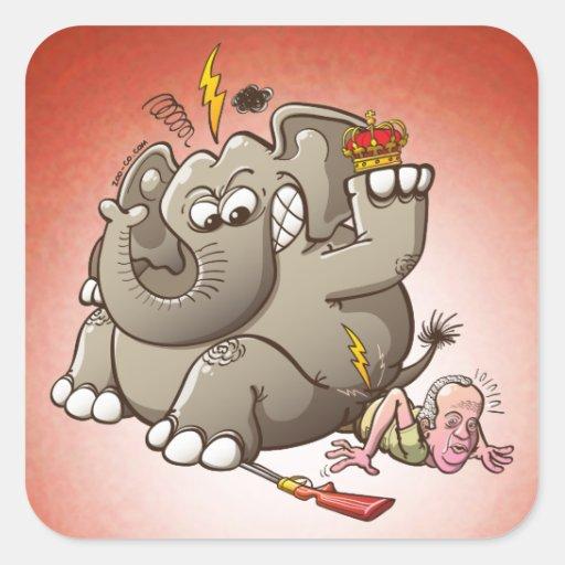 Caza del rey Breaks Hip While Elephant de España Pegatina Cuadrada