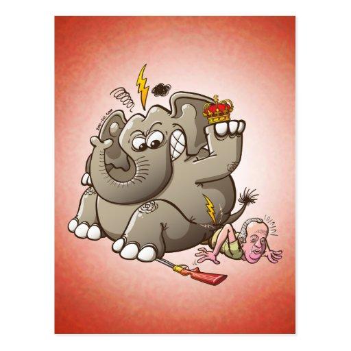 Caza del rey Breaks Hip While Elephant de España Tarjetas Postales