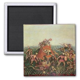 Caza del tigre, 1892 (aceite en lona) imán cuadrado