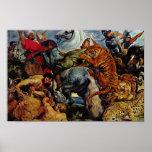 Caza del tigre y del león de Rubens Peter Paul Póster