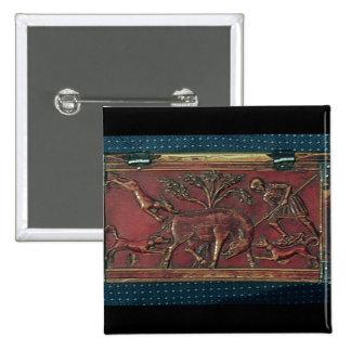Caza del verraco, placa de un ataúd bizantino, 11m pin cuadrada 5 cm