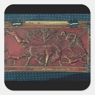 Caza del verraco, placa de un ataúd bizantino, pegatinas cuadradas personalizadas