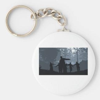 Caza del zombi en el bosque llaveros personalizados