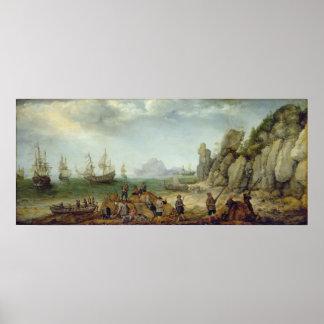 Caza en la costa, 1620 de la cabra salvaje poster