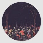 Caza en la noche de Uccello Pablo (la mejor Pegatina Redonda