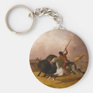 Caza en los llanos al sudoeste - 1845 del búfalo llavero redondo tipo pin