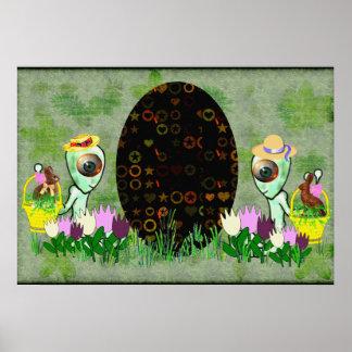 Caza extranjera del huevo de Pascua Poster