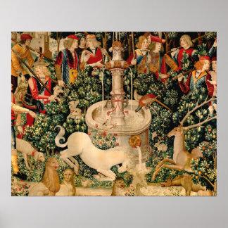Caza medieval de las tapicerías del unicornio poster