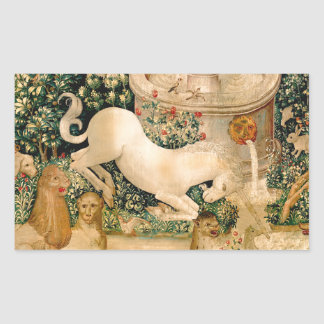 Caza medieval de las tapicerías del unicornio pegatina rectangular