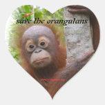 Caza, nuevo huérfano del orangután pegatinas corazon