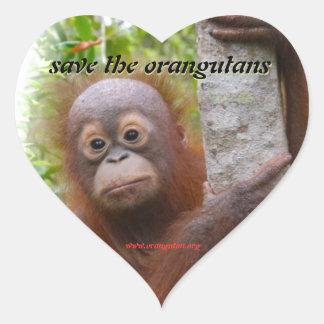 Caza, nuevo huérfano del orangután pegatina en forma de corazón