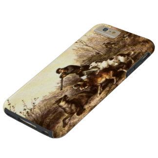 Caza salvaje del lobo de madera con los perros funda de iPhone 6 plus tough