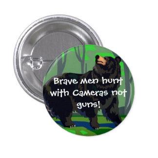 Caza valiente de los hombres con las cámaras pin redondo 2,5 cm