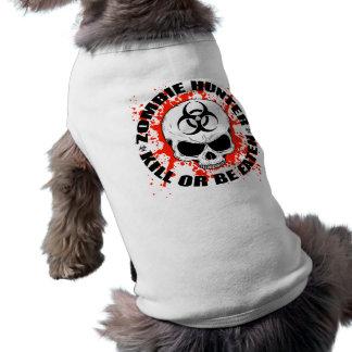 Cazador 3 del zombi playera sin mangas para perro