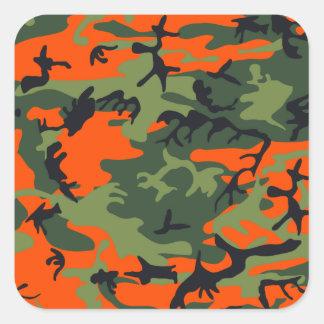 Cazador anaranjado Camo Pegatina Cuadrada