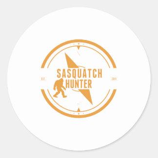 Cazador anaranjado de Sasquatch Etiqueta Redonda
