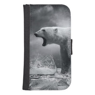 Cazador blanco del oso polar en el hielo en agua funda tipo billetera para galaxy s4
