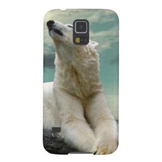 Cazador blanco del oso polar en roca fundas de galaxy s5