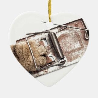 Cazador capturado adorno de cerámica en forma de corazón