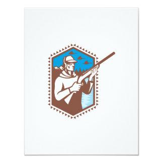 Cazador con tirar del pato del rifle de la invitación 10,8 x 13,9 cm