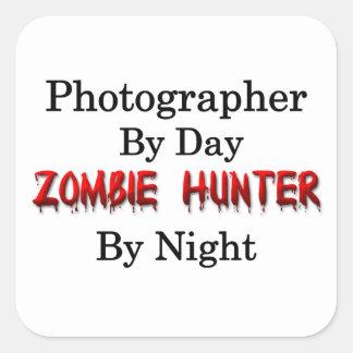 Cazador de la fotografía/del zombi pegatina cuadrada