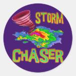 Cazador de la tormenta etiqueta redonda