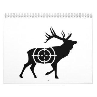 Cazador de los retículos de los ciervos calendario de pared