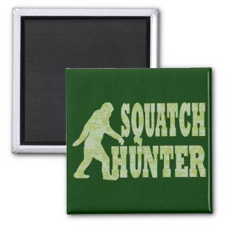 Cazador de Squatch en camuflaje Imán Cuadrado