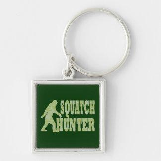Cazador de Squatch en camuflaje Llavero Cuadrado Plateado