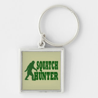 Cazador de Squatch Llavero Cuadrado Plateado