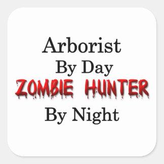 Cazador del arborista/del zombi pegatina cuadrada
