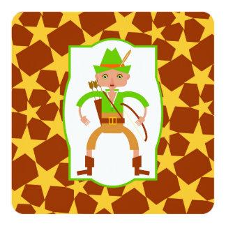 """Cazador del bosque con el arco y fiesta de invitación 5.25"""" x 5.25"""""""