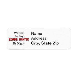 Cazador del camarero/del zombi etiqueta de remite