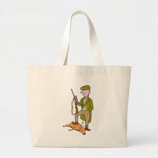 Cazador del dibujo animado con el rifle que se col bolsas lienzo
