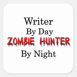 Cazador del escritor/del zombi pegatina cuadrada
