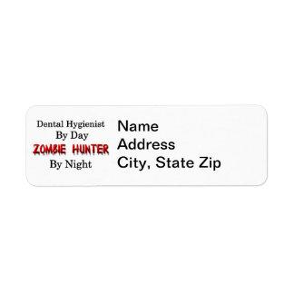Cazador del higienista dental del zombi etiqueta de remite