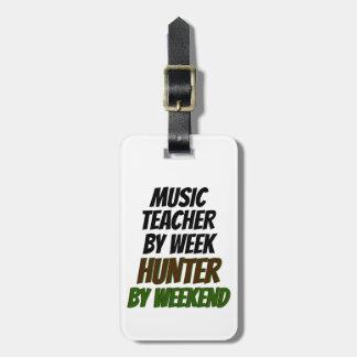 Cazador del profesor de música etiqueta de maleta