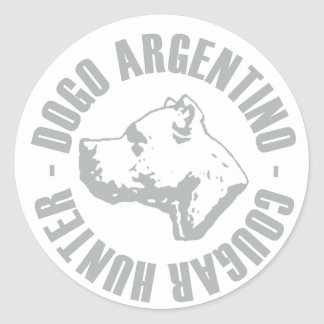 CAZADOR DEL PUMA DE DOGO ARGENTINO PEGATINA REDONDA
