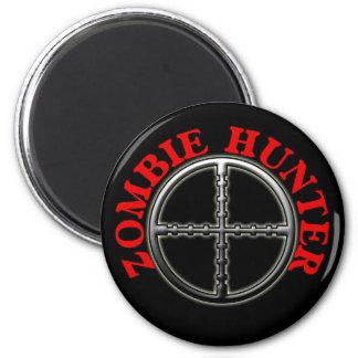 Cazador del zombi con los retículos imán redondo 5 cm