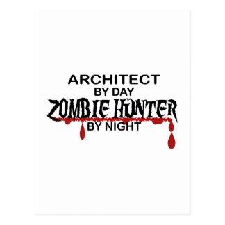 Cazador del zombi del arquitecto por noche postales