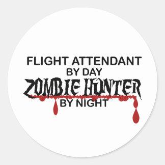 Cazador del zombi del asistente de vuelo pegatina redonda