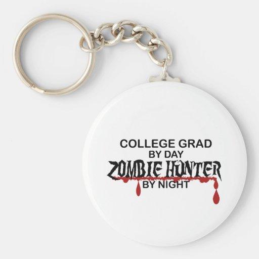 Cazador del zombi del graduado de la universidad llavero personalizado