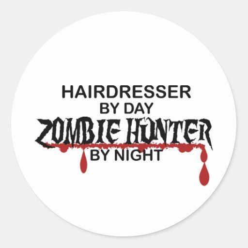 Cazador del zombi del peluquero etiqueta redonda